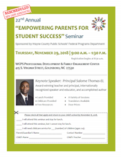 WCPS Parent Seminar rescheduled to November 29, from 9 AM - 1:30 PM