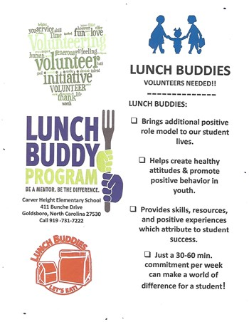 Flyer information for Lunch Buddies Program... Click on Read More for written transcript of flyer