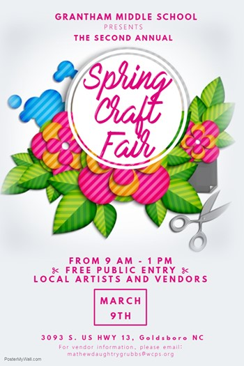 Flyer of Spring Craft Fair on March 9 - 9:00 - 1:00
