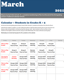 March 2021 - K-5 Traditional - Transition to Plan A