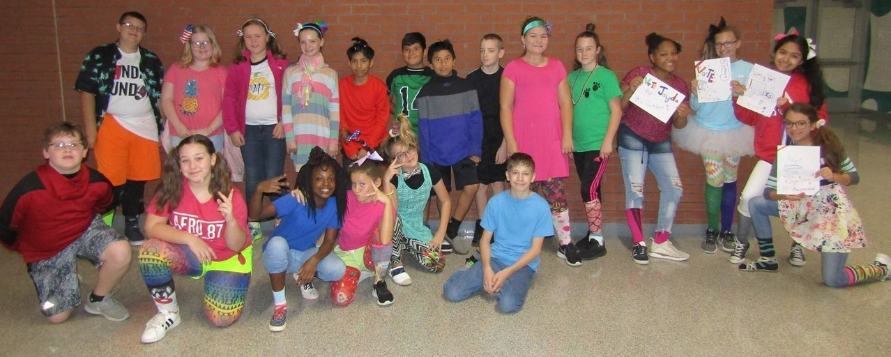 Students dressed for Wacky Tacky Day