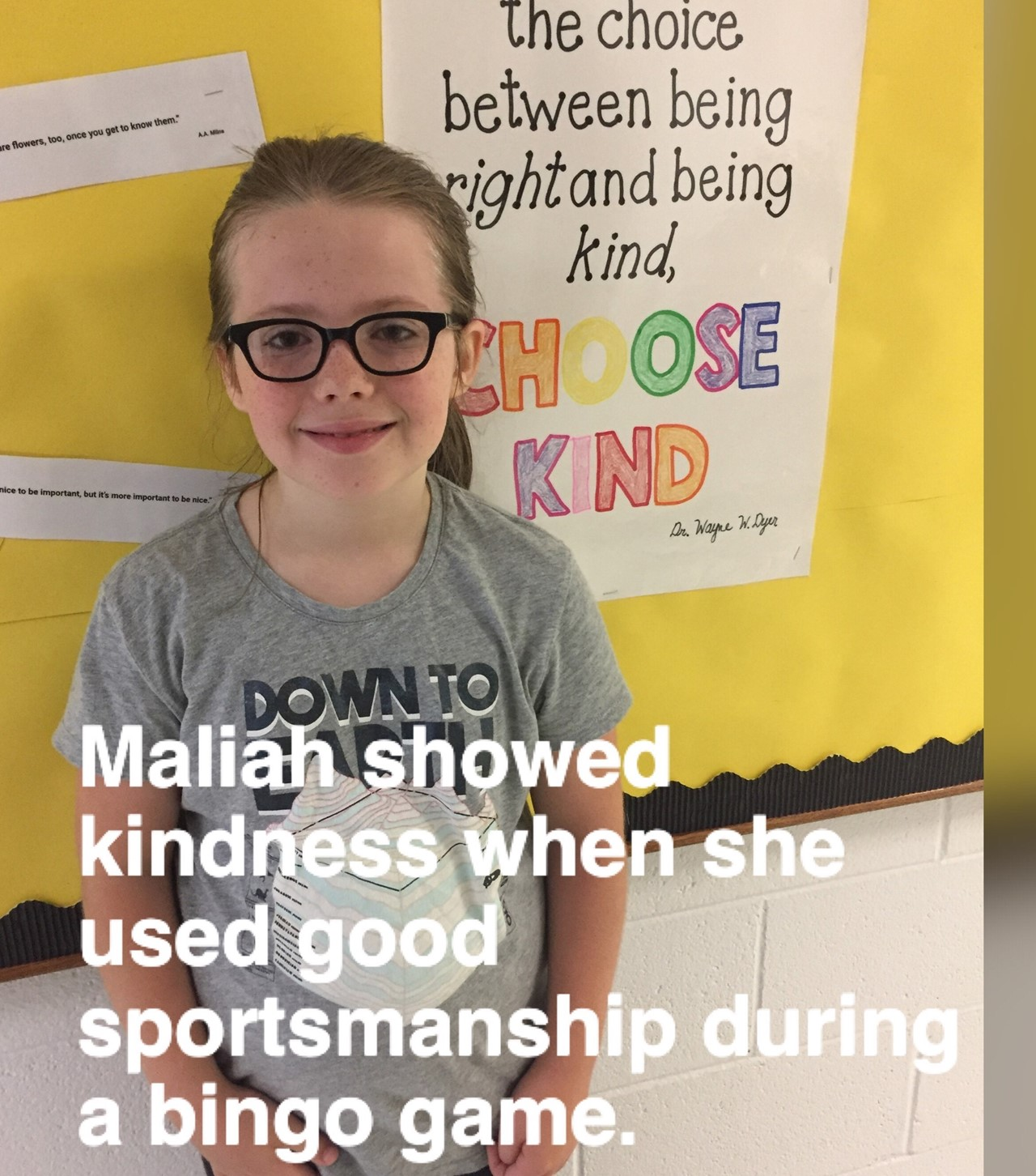 3rd grader showing kindness during a game!