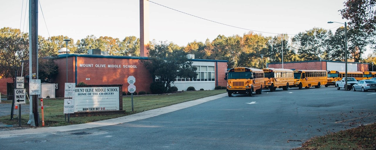 Mt Olive Middle School with buses lined up