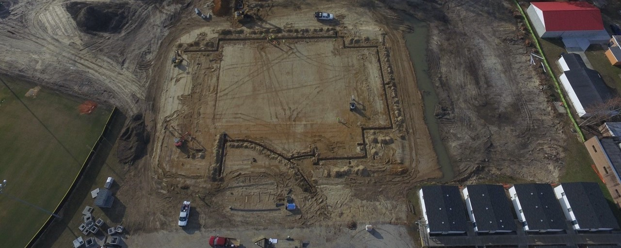 Aerial view of new Southern Wayne High gym construction