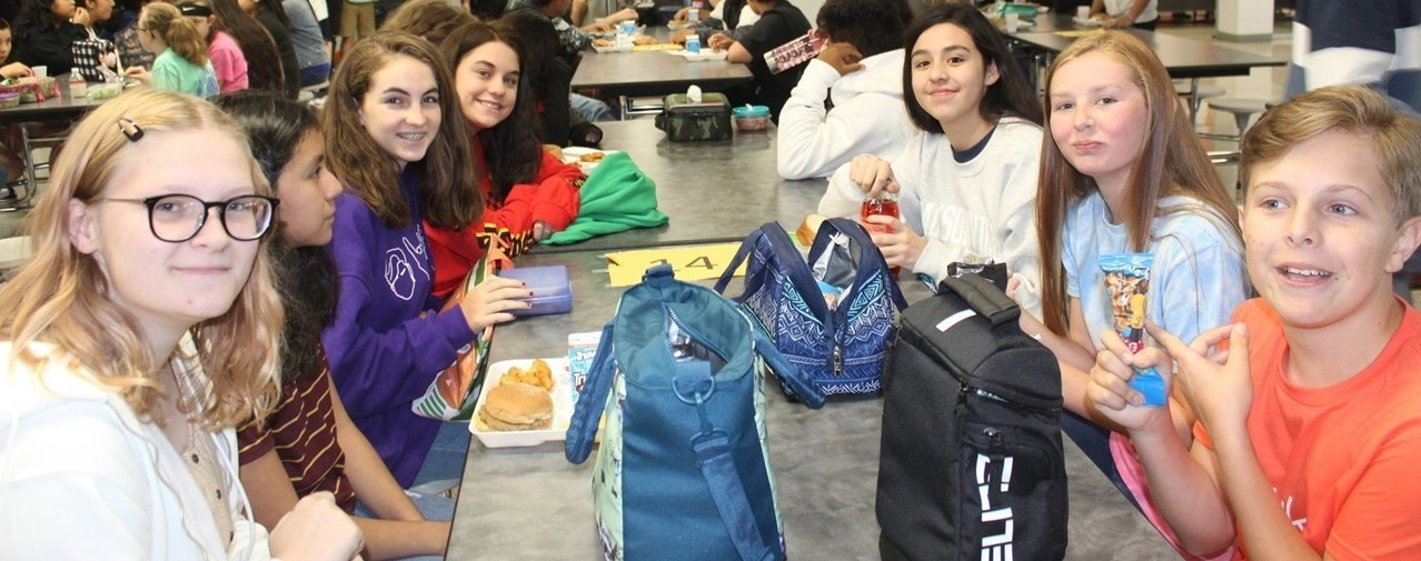 Students enjoying their lunch at Spring Creek Middle