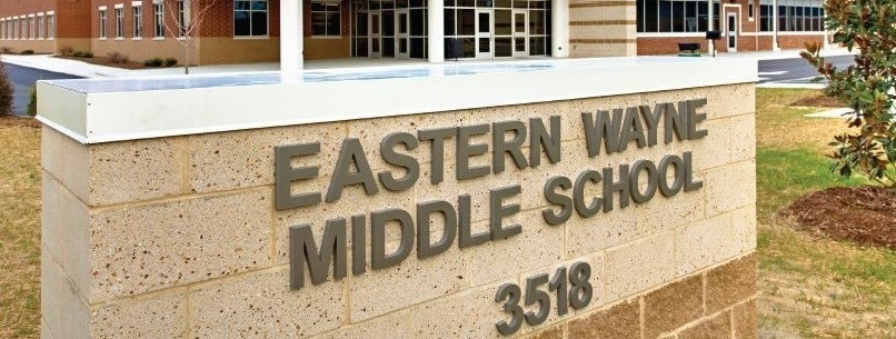 Sign in Front of Building reads Eastern Wayne Middle School