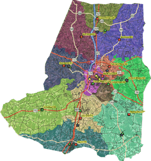Map of Wayne County and school districts